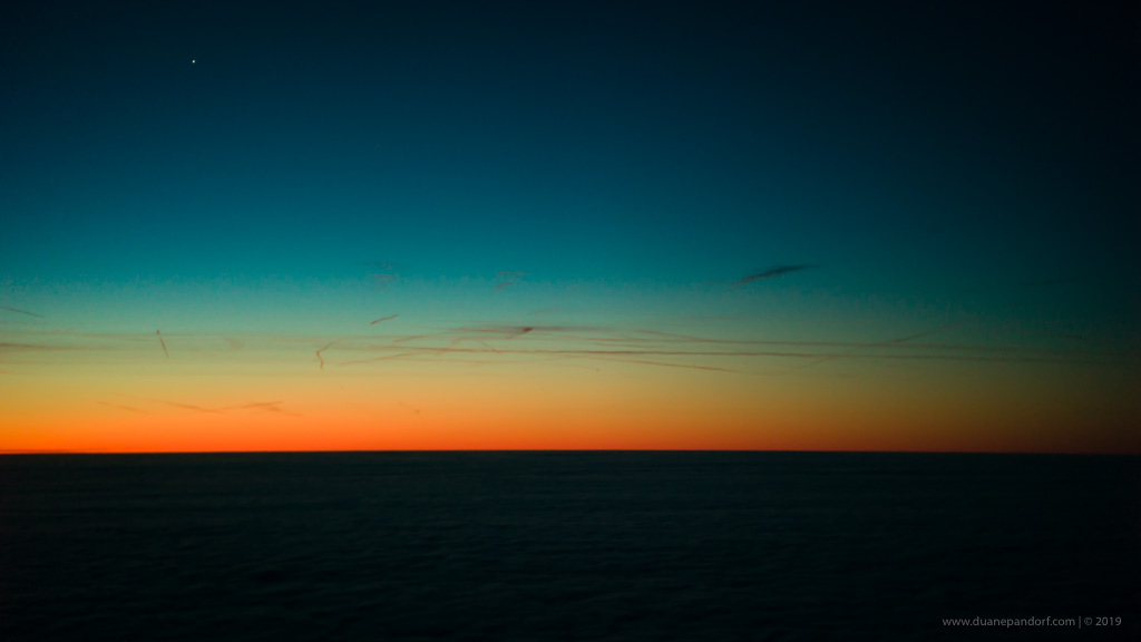 Sunrise over the Atlantic Ocean @ 47,000'